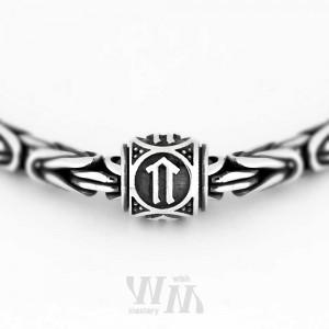 Руна Ветер - бусина из серебра
